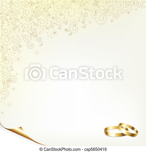 Wedding Background With Gold Rings Vector Illustration Save Comp