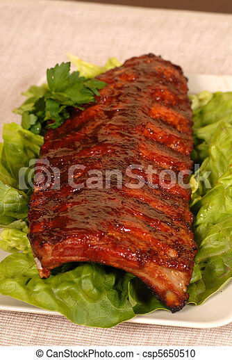 Slab of ribs resting on lettuce - csp5650510