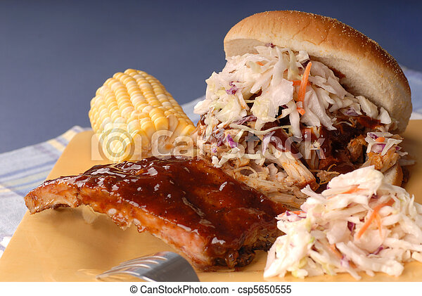 Pulled pork sandwich, ribs - csp5650555
