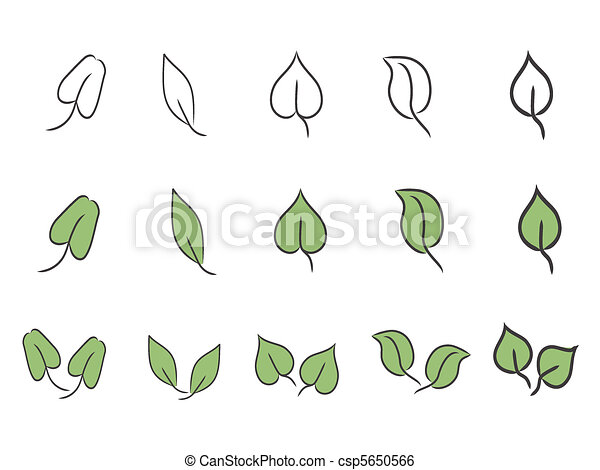 leaf icon set - csp5650566