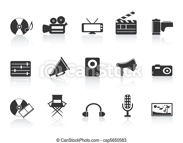 black multimedia tools icon - csp5650583