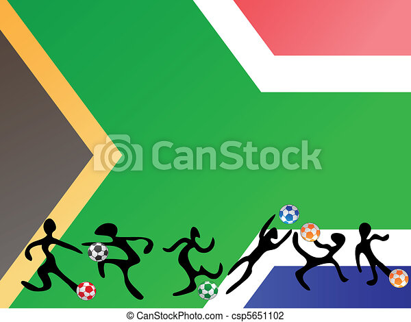 playing soccer in south africa flag - csp5651102