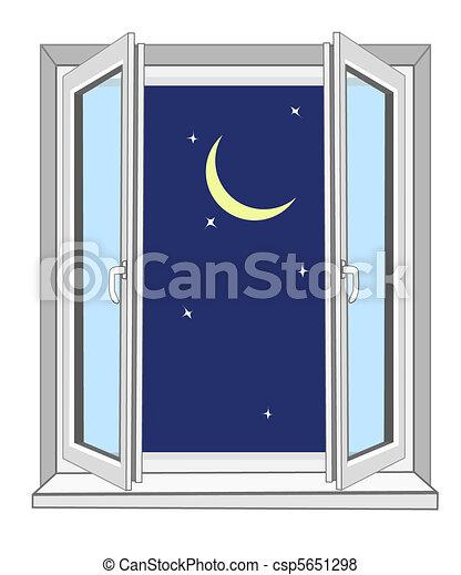 Vecteur de nuit derri re a fen tre les jaune lune for Fenetre ouverte dessin