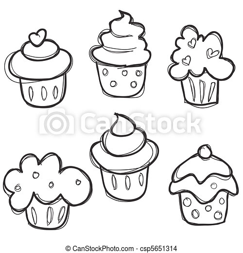 Hand Drawn Cupcake Set 5651314