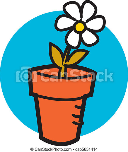 Flowerpot with one pretty daisy - csp5651414