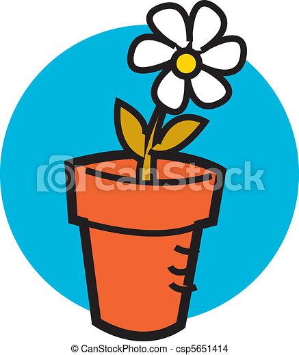 Flowerpot with one pretty daisy - csp5651414
