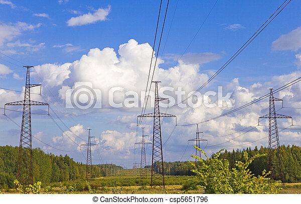line of electricity transmissions