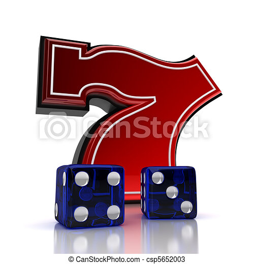 Drawings of lucky number seven with dice over white - Lucky number 7 wallpaper ...