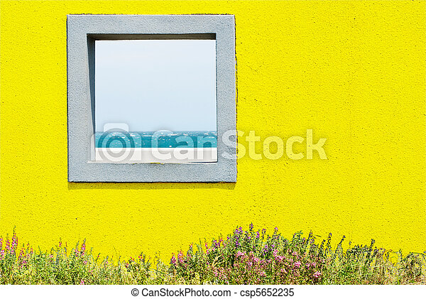 window and seascape. - csp5652235