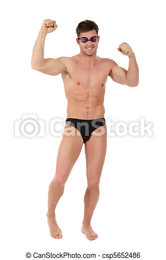 Young  man swimmer, victorious - csp5652486