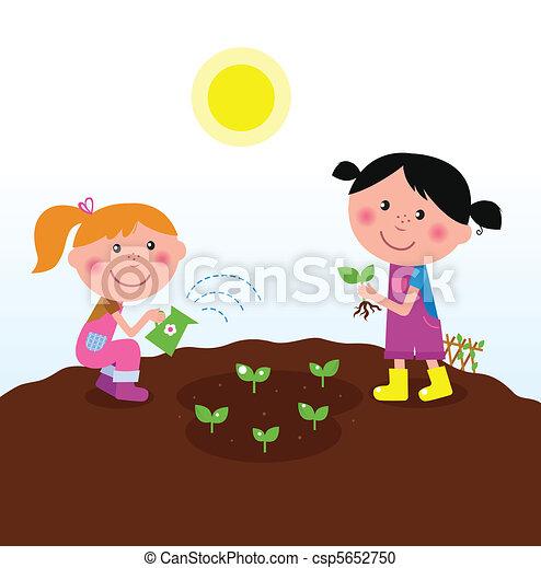 Children planting plants in garden - csp5652750