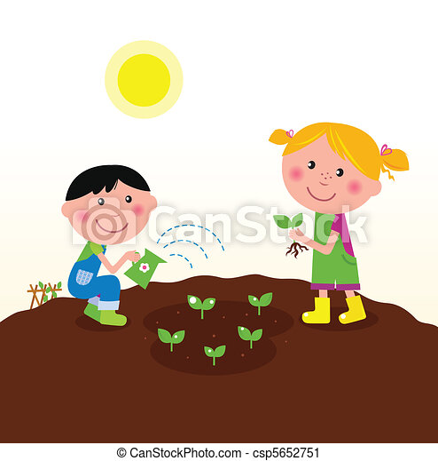 Children planting plants in garden - csp5652751