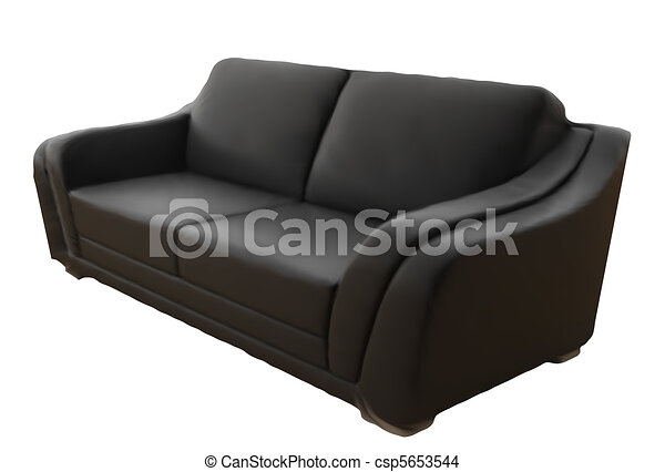 Black Leather Sofa Isolated On White Background. Vector - csp5653544