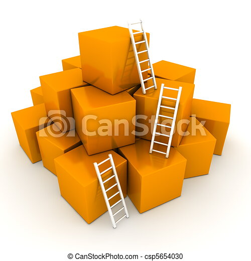 a pile of shiny orange boxes - three bright white ladders are used to climb to the top - csp5654030