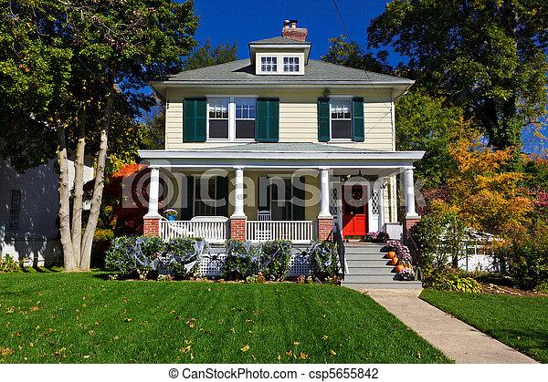 Suburban Single Family House Prairie Style Autumn - csp5655842