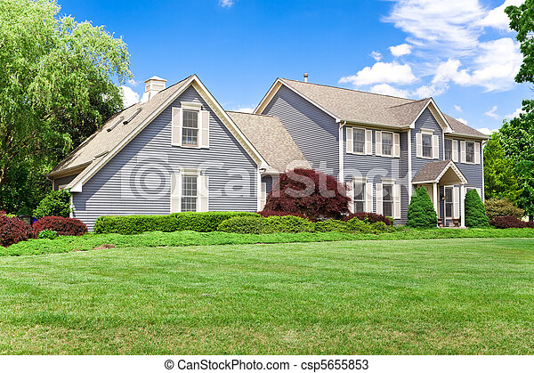 Suburban Maryland Single Family House Colonial Georgian Lawn Blu - csp5655853