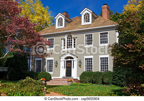 Suburb Single Family House Home Georgian Colonial - csp5655904