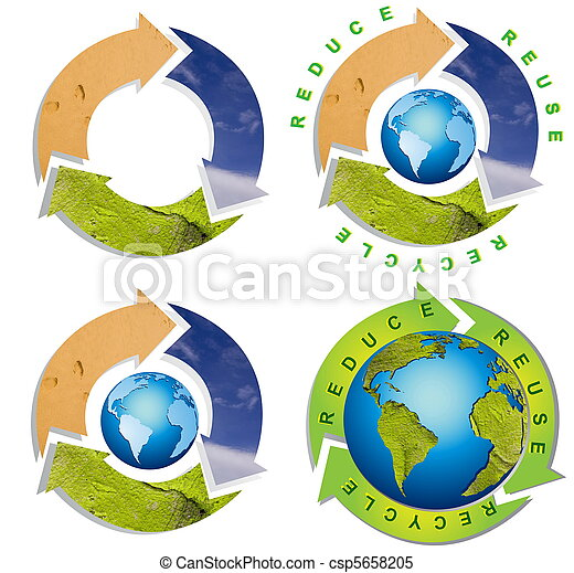 Clean environment - conceptual recycling symbol - csp5658205