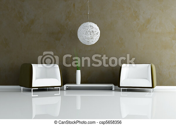 contemporary brown living room  - csp5658356