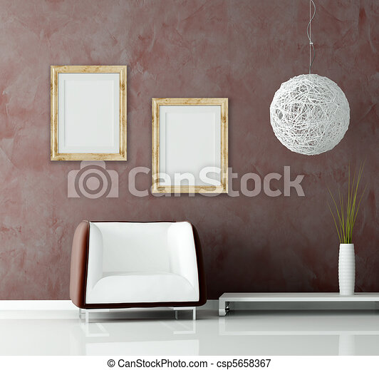 modern sofa and chandelier  before of a stucco wall  - csp5658367