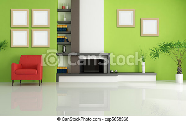 green living room with modern fireplace - csp5658368