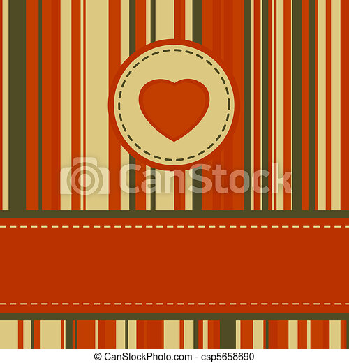 Lovely stripy card 70s retro template. EPS 8 - csp5658690