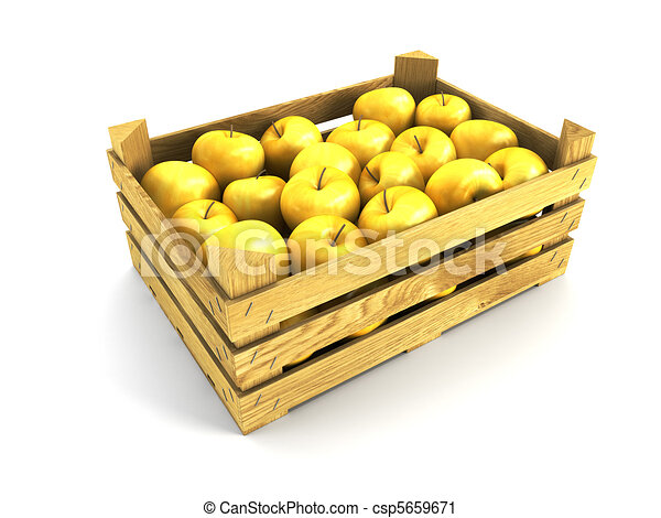 wooden crate full of apples - csp5659671