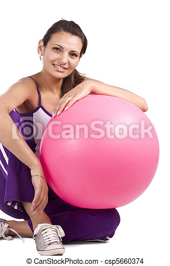 Woman with fitness ball  - csp5660374