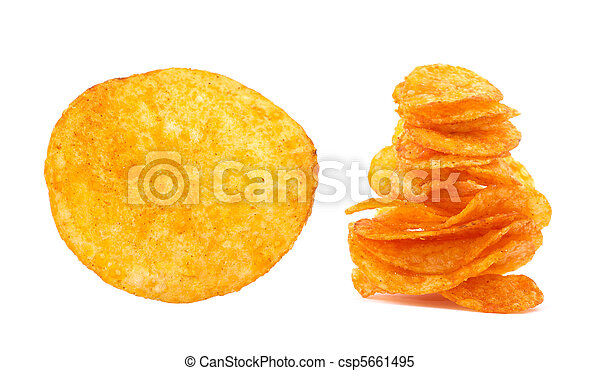 Potato chips isolated on white - csp5661495