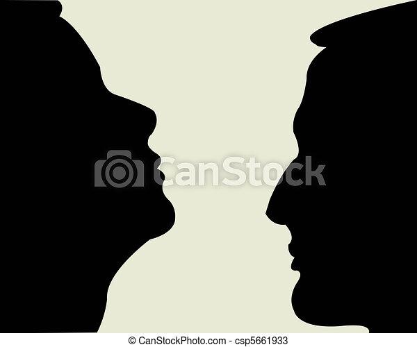Black silhouettes feminine and male person - csp5661933