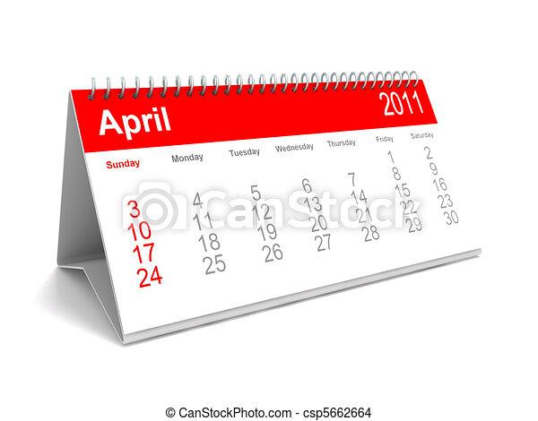 Tekening van april kalender 2011 bureau 3d for Bureau kalender