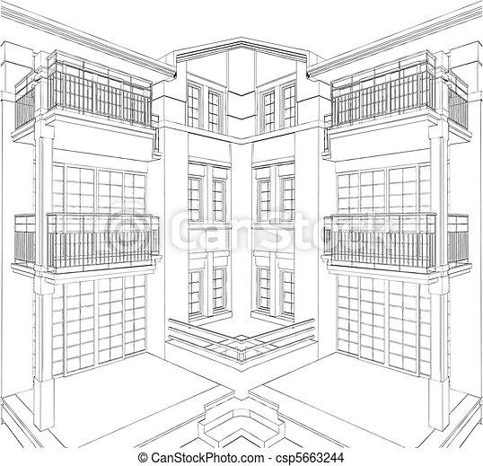 Modern Building Residential House - csp5663244
