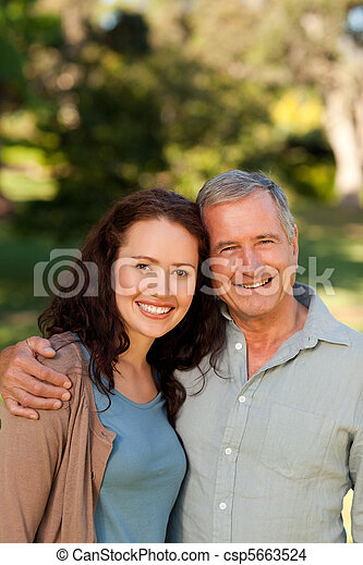 Woman with her father-in-law in the - csp5663524