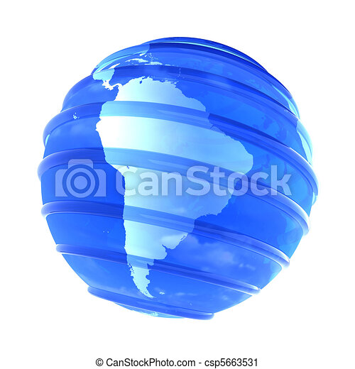 3d glassy Earth Globe focused in South America - csp5663531