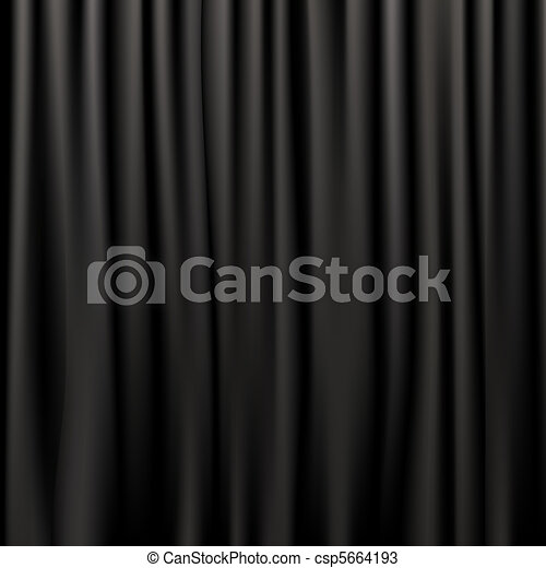 Black Silk Curtains - csp5664193