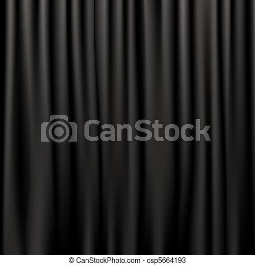 Black Silk Curtains - csp5664193