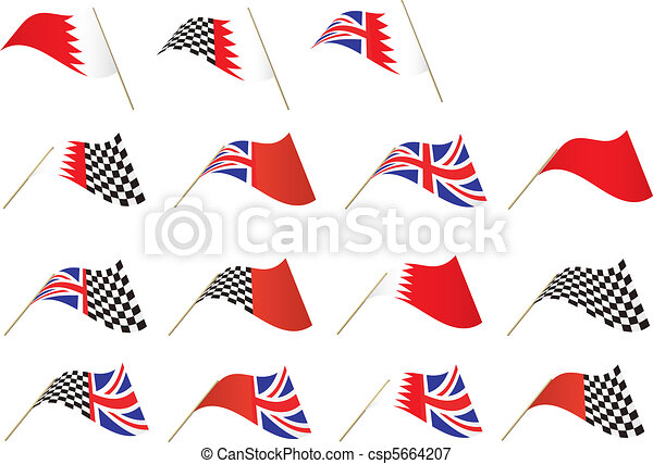 Union Jack, Bahrain Flag - csp5664207