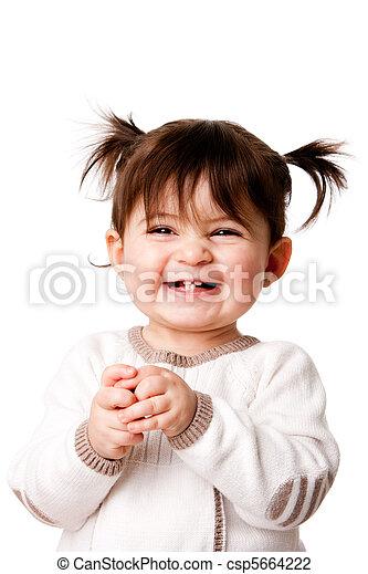 Happy laughing baby toddler girl - csp5664222