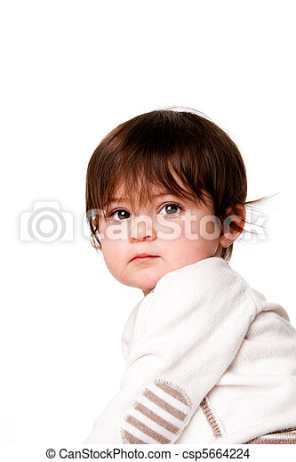 Cute innocent baby toddler face - csp5664224