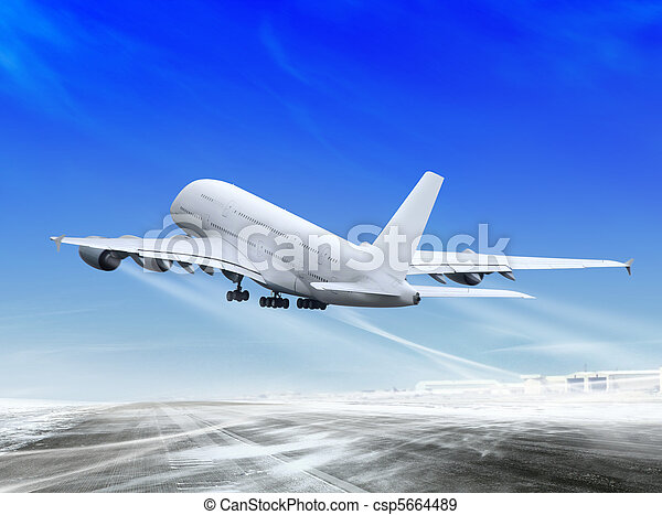 plane is landing away - csp5664489