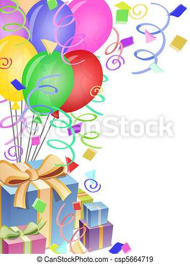 Balloons with Confetti and Presents for Birthday Party - csp5664719