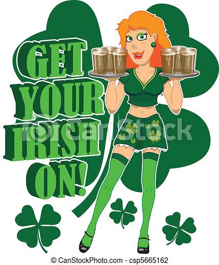 Vector Illustration of Get your Irish on - Irish bar maid holding ...