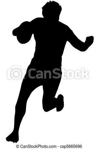 Sport Silhouette - Rugby Runner Blocking - csp5665696