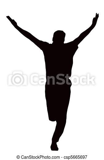 Sport Silhouette - Bowler celebrating - csp5665697