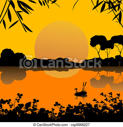 vectors illustration of sunset on a lake scene clip art castle and clouds clip art castle flags