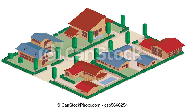 Residential district cartoon - csp5666254