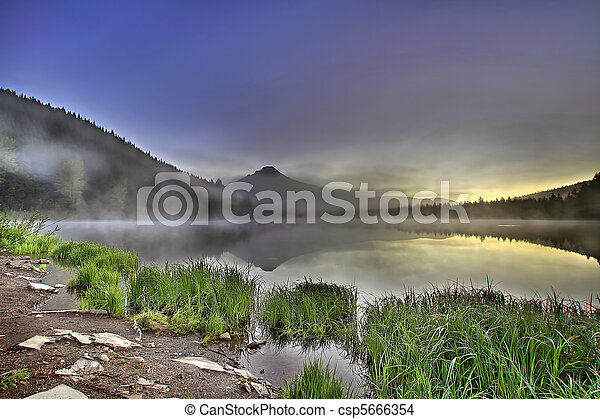 Foggy Sunrise at Trillium Lake with Mount Hood - csp5666354