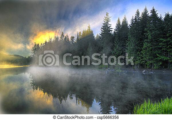 Sunrise Over Trillium Lake Oregon - csp5666356