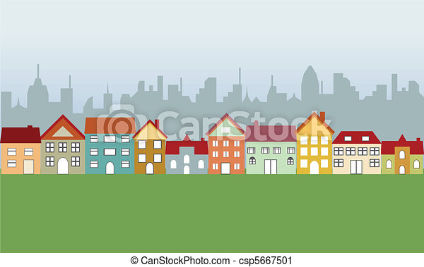 Suburban houses and city - csp5667501
