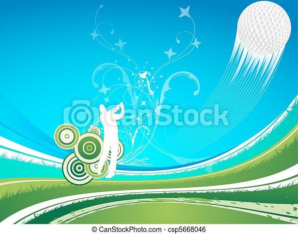 Man driving a golf ball  on a blue a green background - csp5668046